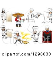 Clipart Of Cartoon Happy Chefs Royalty Free Vector Illustration