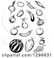 Black And White Sketched Fruits And Veggies
