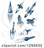 Retro Blue Space Rockets 3