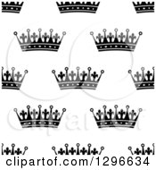 Clipart Of A Seamless Background Pattern Of Black And White Ornate Crowns 4 Royalty Free Vector Illustration