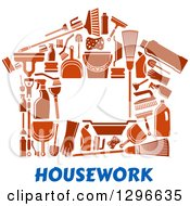 Clipart Of A House Made Of Brown Cleaning Items Over Blue Text Royalty Free Vector Illustration