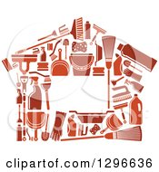 Clipart Of A House Made Of Brown Cleaning Items Royalty Free Vector Illustration