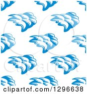 Clipart Of A Seamless Background Design Pattern Of Ocean Waves In Blue On White Royalty Free Vector Illustration