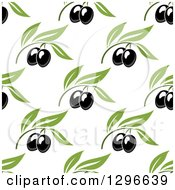 Clipart Of A Seamless Background Pattern Of Black Olives And Green Leaves 2 Royalty Free Vector Illustration