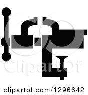 Clipart Of A Black Silhouetted Vice Grip Royalty Free Vector Illustration