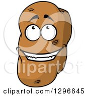 Clipart Of A Cartoon Russet Potato Character Looking Up Royalty Free Vector Illustration
