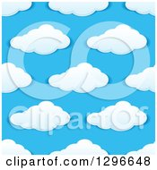 Clipart Of A Seamless Pattern Background Of Puffy Clouds In A Blue Sky 4 Royalty Free Vector Illustration by Vector Tradition SM