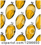 Clipart Of A Seamless Canary Melon Background Pattern Royalty Free Vector Illustration