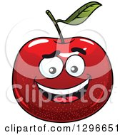 Clipart Of A Smiling Red Apple Character Royalty Free Vector Illustration