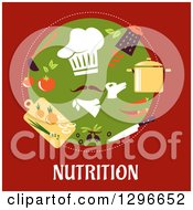 Clipart Of A Circle Of A Chefs Hat And Hand With Food In A Circle Over Red And Text Royalty Free Vector Illustration by Vector Tradition SM