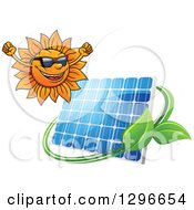 Clipart Of A Happy Cheering Sun And Solar Panel Encircled With A Swoosh And Green Leaves Royalty Free Vector Illustration