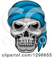 Clipart Of A Human Pirate Skull With A Blue Bandana Royalty Free Vector Illustration