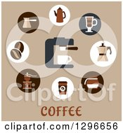 Clipart Of Coffee Beans Pots Cups And Grinders Over Text On Tan Royalty Free Vector Illustration