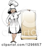Clipart Of A Cartoon Happy Female Chef Holding A Blank Menu Royalty Free Vector Illustration by Seamartini Graphics