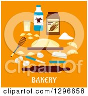 Clipart Of Dough With Baking Ingredients Over Text On Orange Royalty Free Vector Illustration