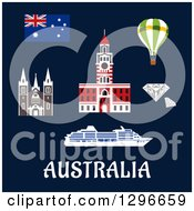 Clipart Of Australian Flag Item And Landmarks With Text On Blue Royalty Free Vector Illustration
