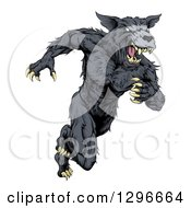 Clipart Of A Vicious Black Muscular Wolf Man Sprinting Royalty Free Vector Illustration