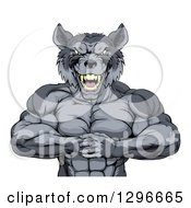 Clipart Of A Tough Vicious Muscular Wolf Man Punching His Fist Into Palm Royalty Free Vector Illustration