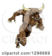 Clipart Of A Muscular Aggressive Brown Bull Man Monster Sprinting Upright Royalty Free Vector Illustration