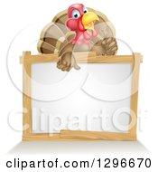 Clipart Of A Cute Turkey Bird Giving A Thumb Up Over A Sign Royalty Free Vector Illustration