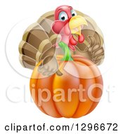Clipart Of A Cute Turkey Bird Giving A Thumb Up Over A Pumpkin Royalty Free Vector Illustration by AtStockIllustration