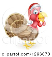 Clipart Of A Cute Christmas Turkey Bird Facing Right And Wearing A Santa Hat Royalty Free Vector Illustration