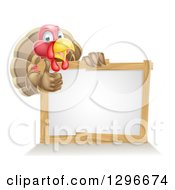 Clipart Of A Cute Turkey Bird Giving A Thumb Up Around A Sign Royalty Free Vector Illustration