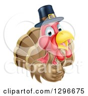 Clipart Of A Cute Thanksgiving Turkey Bird Wearing A Pilgrim Hat And Giving A Thumb Up Royalty Free Vector Illustration by AtStockIllustration