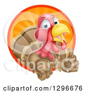 Clipart Of A Cute Turkey Bird Giving A Thumb Up And Emerging From A Circle Of Sun Rays Royalty Free Vector Illustration by AtStockIllustration