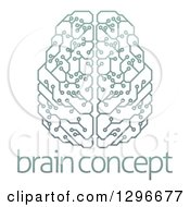 Gradient Green Artificial Intelligence Circuit Board Brain Over Sample Text