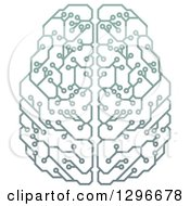 Clipart Of A Gradient Green Artificial Intelligence Circuit Board Brain Royalty Free Vector Illustration