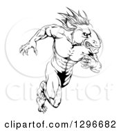 Clipart Of A Muscular Aggressive Black And White Stallion Horse Man Running Royalty Free Vector Illustration by AtStockIllustration