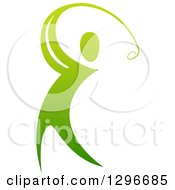 Clipart Of A Gradient Green Man Swinging A Golf Club Royalty Free Vector Illustration by AtStockIllustration