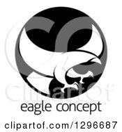 Clipart Of A White Silhouetted Eagle Or Hawk Reading To Grab Prey In A Black Circle Over Sample Text Royalty Free Vector Illustration
