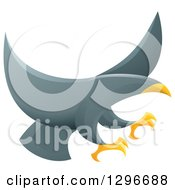 Clipart Of A Gray Eagle Or Hawk Reading To Grab Prey Royalty Free Vector Illustration