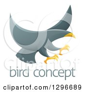 Clipart Of A Gray Eagle Or Hawk Reading To Grab Prey Over Sample Text Royalty Free Vector Illustration