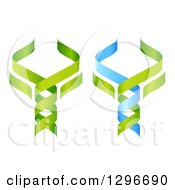 Clipart Of 3d Green And Blue DNA Double Helix Trees Shaped Like Caduceuses Royalty Free Vector Illustration