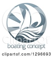 Clipart Of A Shiny Circle Of A Sailboat Waves And Sun Rays Over Sample Text Royalty Free Vector Illustration