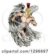 Clipart Of A Spartan Trojan Warrior Angel Running With A Sword Royalty Free Vector Illustration