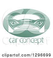 White Sports Car In A Shiny Green Oval Over Sample Text