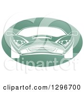 Clipart Of A White Sports Car In A Shiny Green Oval Royalty Free Vector Illustration