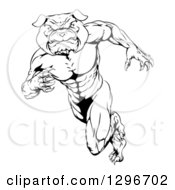 Black And White Muscular Tough Bulldog Man Mascot Sprinting Upright To The Left