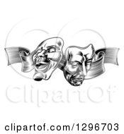 Clipart Of Black And White Engraved Comedy And Tragedy Theater Masks On A Ribbon Royalty Free Vector Illustration by AtStockIllustration