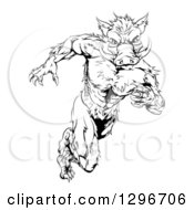 Clipart Of A Black And White Sprinting Muscular Boar Man Royalty Free Vector Illustration