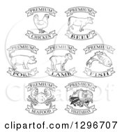 Clipart Of Black And White Premium Chicken Beef Pork Lamb Fish Seafood And Vegetarian Food Labels Royalty Free Vector Illustration