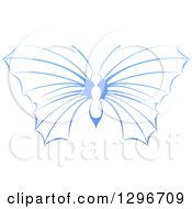 Clipart Of A Gradient Blue Butterfly Royalty Free Vector Illustration by AtStockIllustration
