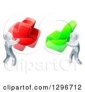 Clipart Of 3d Right And Wrong Silver Men Carrying X And Check Marks Royalty Free Vector Illustration