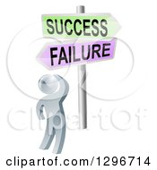 Clipart Of A 3d Silver Man Looking Up At Failure And Success Arrow Signs Royalty Free Vector Illustration