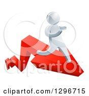 Clipart Of A 3d Silver Business Man Running On A Red Arrow Royalty Free Vector Illustration