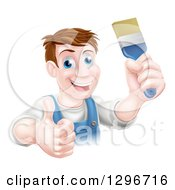 Clipart Of A Happy Middle Aged Brunette White Male House Painter Holding A Brush And A Thumb Up Royalty Free Vector Illustration by AtStockIllustration